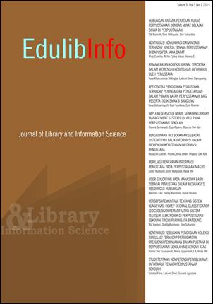 Jurnal Edulibinfo merupakan jurnal pada bidang kajian Perpustakaan dan Ilmu Informasi (Perpusinfo) yang diterbitkan oleh Program Studi Perpustakaan dan Ilmu Informasi, Departemen Kurikulum dan Teknologi Pendidikan, Fakultas Ilmu Pendidikan, Universitas Pe